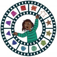 Illustration of a girl drawing inside a circular film strip